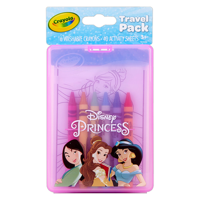Crayola Disney Princess Travel Pack includes 6 Washable Crayons + 40 Activity Sheets
