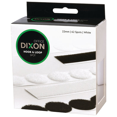 Box of Dixon Hook & Loop 62 Spots White Self-Adhesive
