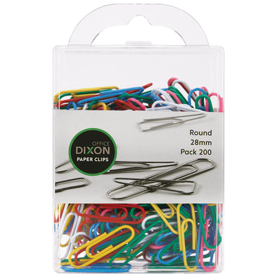 DIXON PAPER CLIPS 28MM ROUND COLOURED PACK 200 - School Depot