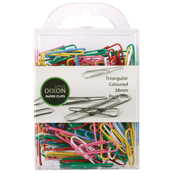 Dixon Paper Clips Triangular Coloured 28mm Pack 200 - School Depot