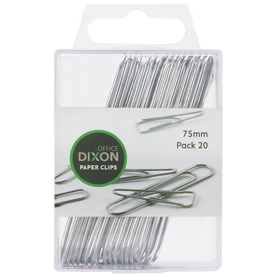 Dixon Round Paper Clips 75mm Chrome, Pack of 20 - School Depot