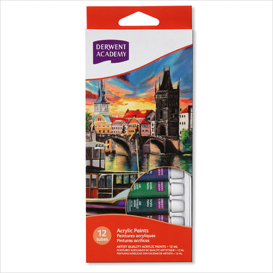 Derwent Academy Acrylic Paint 12ml Tubes Pack of 12