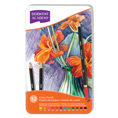 Derwent Academy Coloured Pencils Tin of 12 shades - School Depot NZ