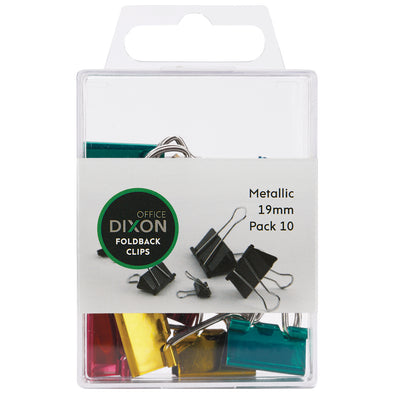 Dixon Foldback Clips 19 mm Pack 10 Assorted Colours - School Depot