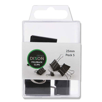 Dixon Foldback Clips 25mm Black Pack of 5