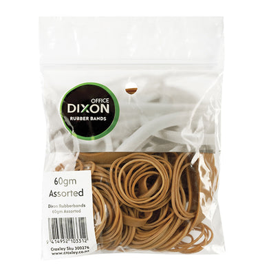 Dixon Rubber Bands Assorted 60 grams - School Depot