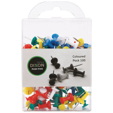 Dixon Push Pins Assorted Colours 100 Pack