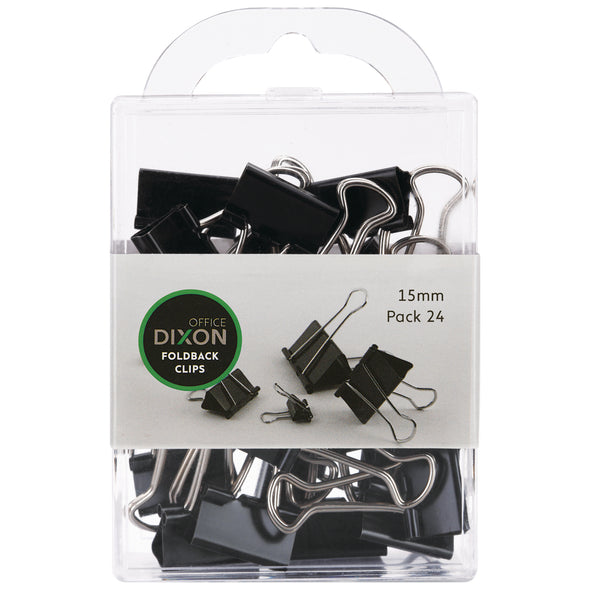 Dixons Foldback Clips 15 mm Pack 24 - School Depot