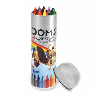 DOMS Erasable Plastic Crayons 12 Shades [Free Sharpener]