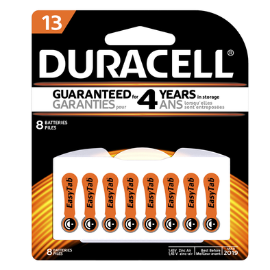 Duracell Hearing Aid 13 Battery Pack of 8 Orange Tab
