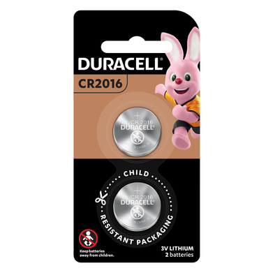 Duracell Lithium Coin Battery CR2016 3V Pack of 2