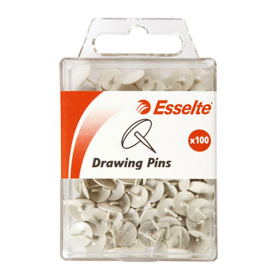 Esselte Drawing Pins White Pack 100