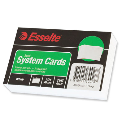 Esselte System Cards Ruled 127 x 76 mm White Pack 100