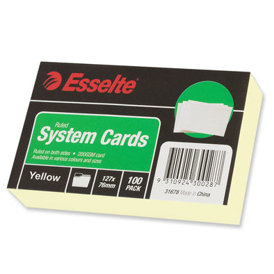 Esselte Ruled System Cards 127 x 76 mm Yellow Pack 100