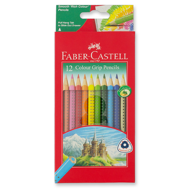 Faber-Castell GRIP Colour Pencils Triangular Full Length 12 Pack