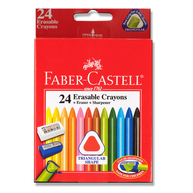 Faber-Castell Triangular Erasable Crayons 24 Pack