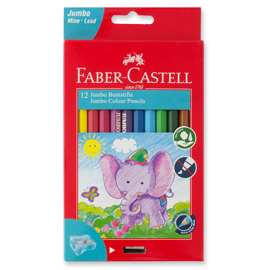 Faber-Castell Jumbo Coloured Pencils Full Length 12 Pack with Sharpener