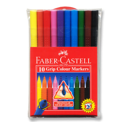 Faber-Castell Grip Triangular Colour Markers, Pack of 10