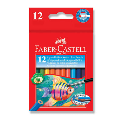 Faber-Castell Watercolour Pencils Half Length 12 Pack