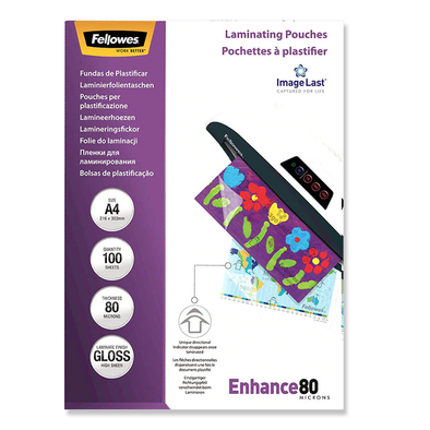Fellowes Laminating Pouches A4 Premium Gloss 80 Micron Pack 100