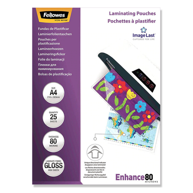Fellowes Laminating Pouches A4 Gloss 80 Micron Pack 25