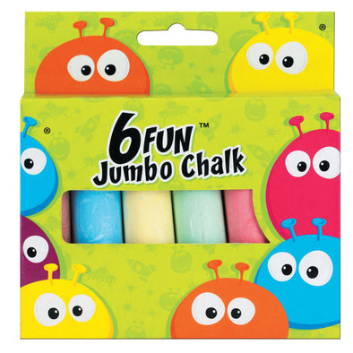Fun Jumbo Chalk Coloured 6 Pack