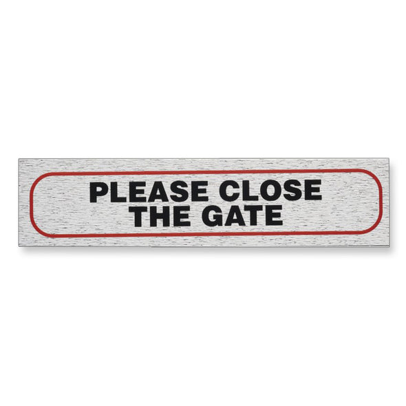 "Information Sign ""PLEASE CLOSE THE GATE"" 17 x 4 cm [Self-Adhesive]"