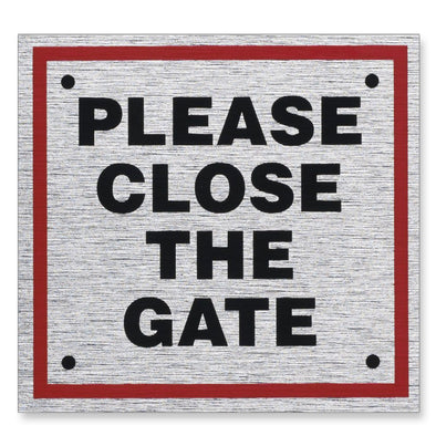 "Information Sign ""PLEASE CLOSE THE GATE"" 85 x 80 mm [Self-Adhesive]"
