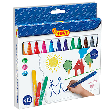 Jovi Maxi Felt Tip Markers Pack of 12 - School Depot NZ