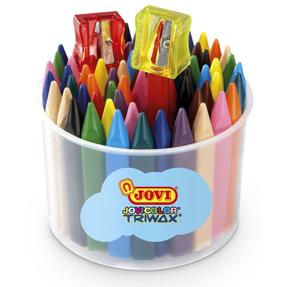 Jovi Triwax Crayons Bucket of 72 + Sharpener