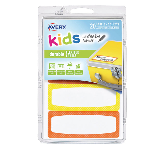 Avery Durable Kids Labels with Neon Border Orange Yellow - 20 Pack