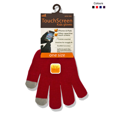Touchscreen Gloves for Kids Red