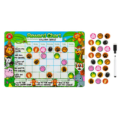 LCBF Magnetic Reward Chart Reusable with 40 Reward Magnets Jungle
