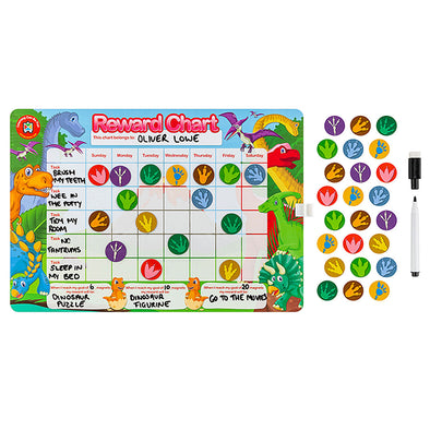 LCBF Magnetic Reward Chart Reusable with 40 Reward Magnets Dinosaurs