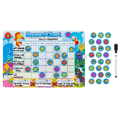 LCBF Magnetic Reward Chart Reusable with 40 Reward Magnets Sea Life