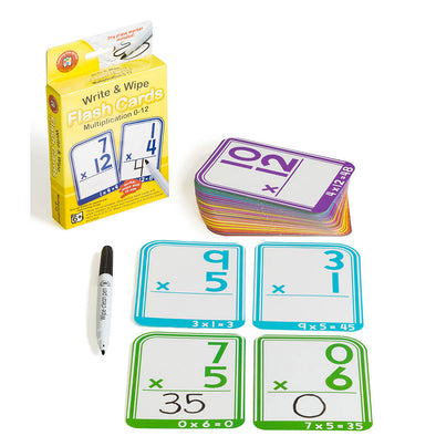 LCBF Write & Wipe Flashcards Multiplication 0 to 12 with Marker Ages 6+