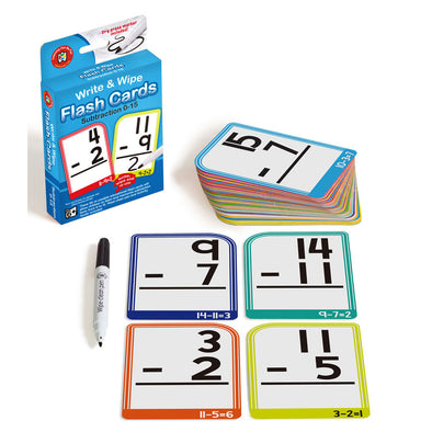 LCBF Write & Wipe Flashcards Subtraction 0-15 with Marker