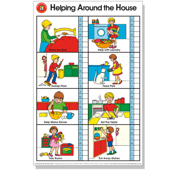 Wall Chart - Helping Around the House Poster - 50 x 74 CM - School Depot NZ