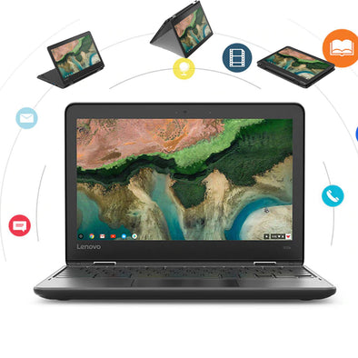 "Lenovo 300E G2 N4000 Flip 2 in 1 Chromebook 11.6"" HD Touchscreen Rugged BYOD for School"