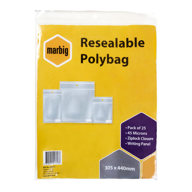 Marbig Resealable Polybag Zip Lock 305 x 440mm Writing Panel Pack of 25