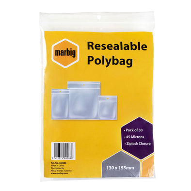 Marbig Resealable Polybag Zip Lock 130 x 155 mm Pack of 50
