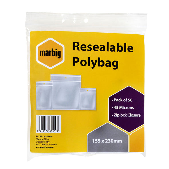 Marbig Resealable Polybag Zip Lock 155 x 230 mm Pack of 50