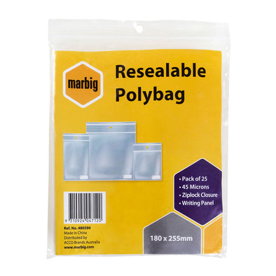 Marbig Resealable Polybag Zip Lock 180 x 255 mm Pack of 25