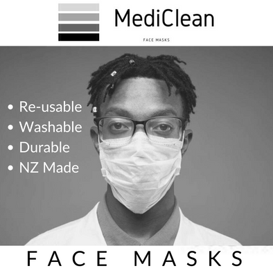 MediClean Reusable Surgical Face Mask Double-Layered White Adult