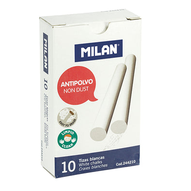 Milan White Chalk Sticks Dust-Free Box 10 - School Depot