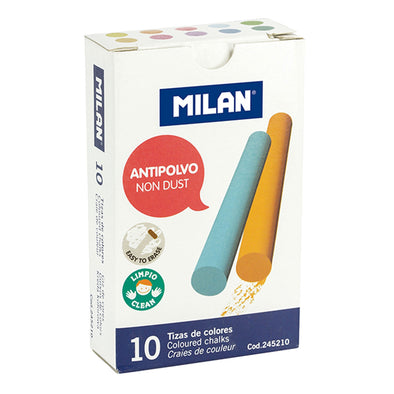 Milan Coloured Chalk Sticks Non Dust Box 10 - School Depot