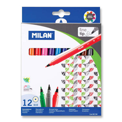 Milan Fibre Tip Markers Fine Tip Pack 12 Assorted Colours