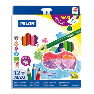 Milan Jumbo Triangular Coloured Pencils Full Length Pack 12