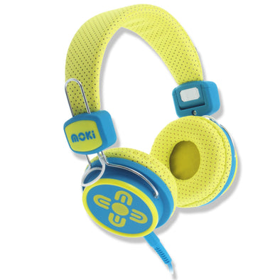 Moki Headphones Kids Safe Volume Limited Yellow & Blue - School Depot NZ