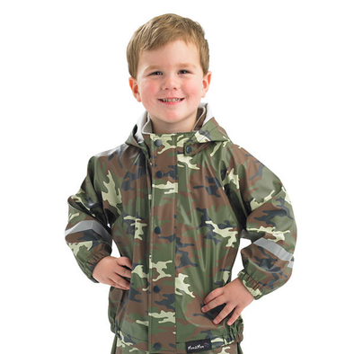 Mum2Mum Kids Raincoat 100% Waterproof Size 2-10 Years Camo